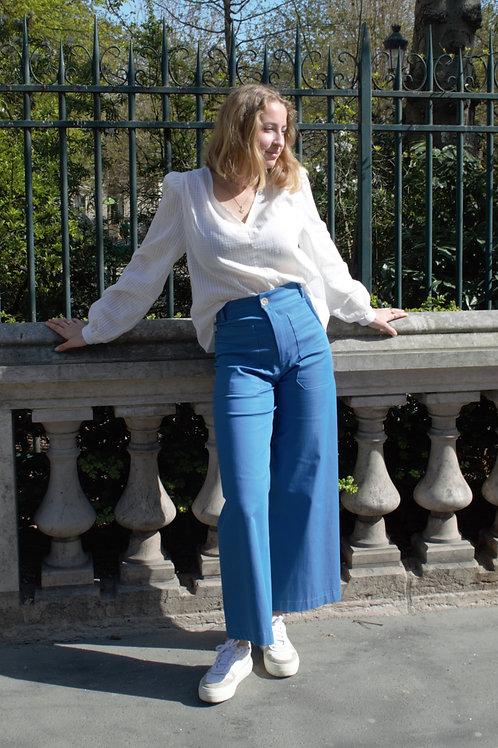 INNÉE PARIS - Pantalon jambe flare bleu