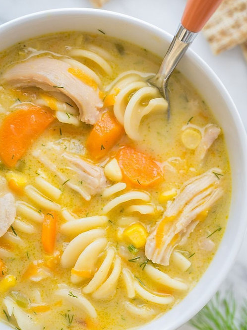 Creamy Chicken Noodle Soup and Gourmet Ham and Cheese Dipper