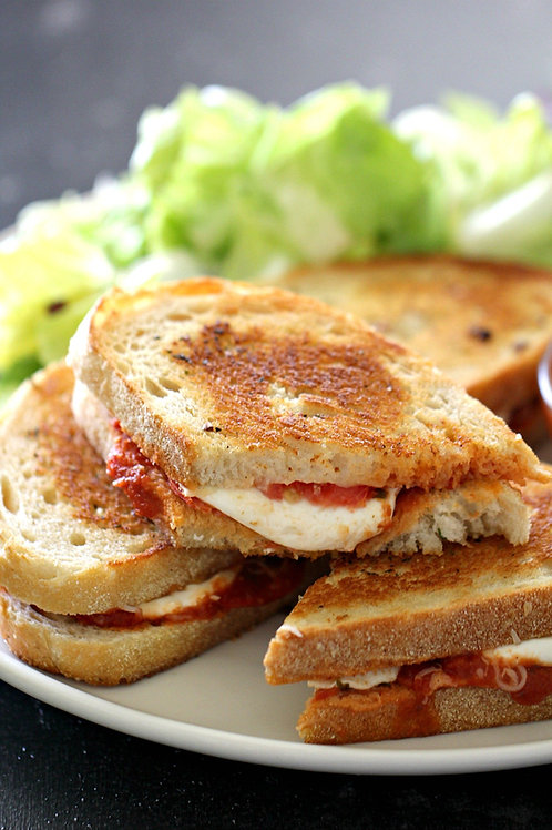 Pepperoni Grilled Cheese, Soup and Salad