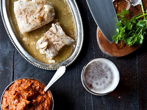 Garlic Beer Butter Cod with Pale Ale Romesco