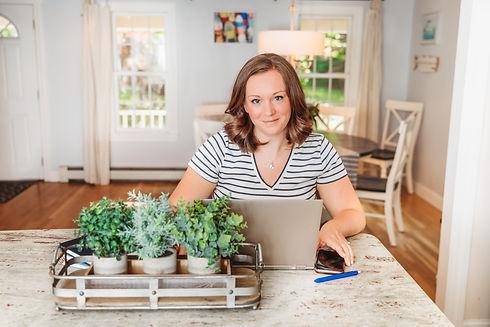 Founder Jessica at kitchen island
