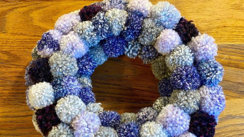 Pompom Wreath - Dark Blues