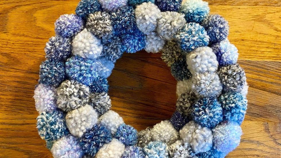 Pompom Wreath - Light Blues