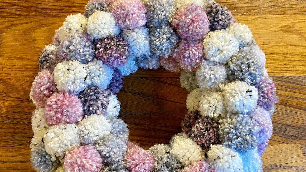 Pompom Wreath - Pink & Grey