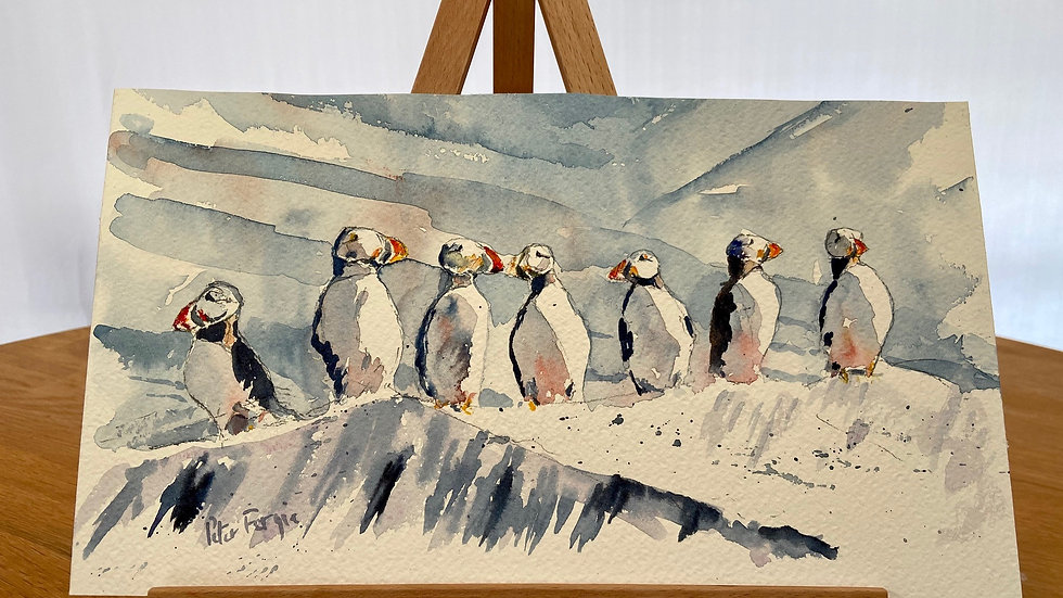 Puffins in a Row Painting