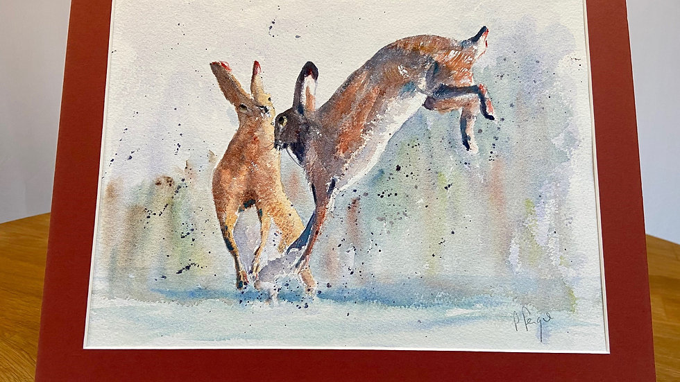 Boxing Hares Red Painting