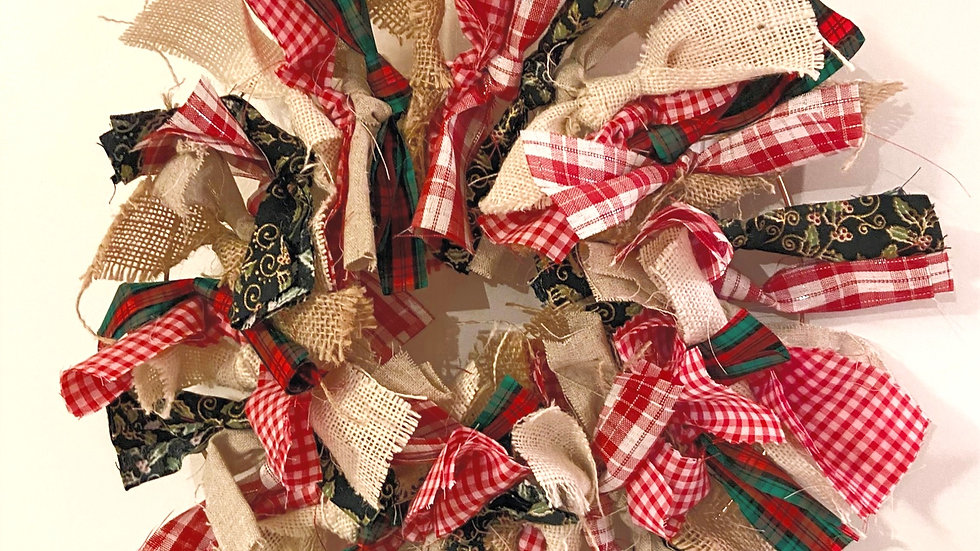 Rag Wreath - Red & Green