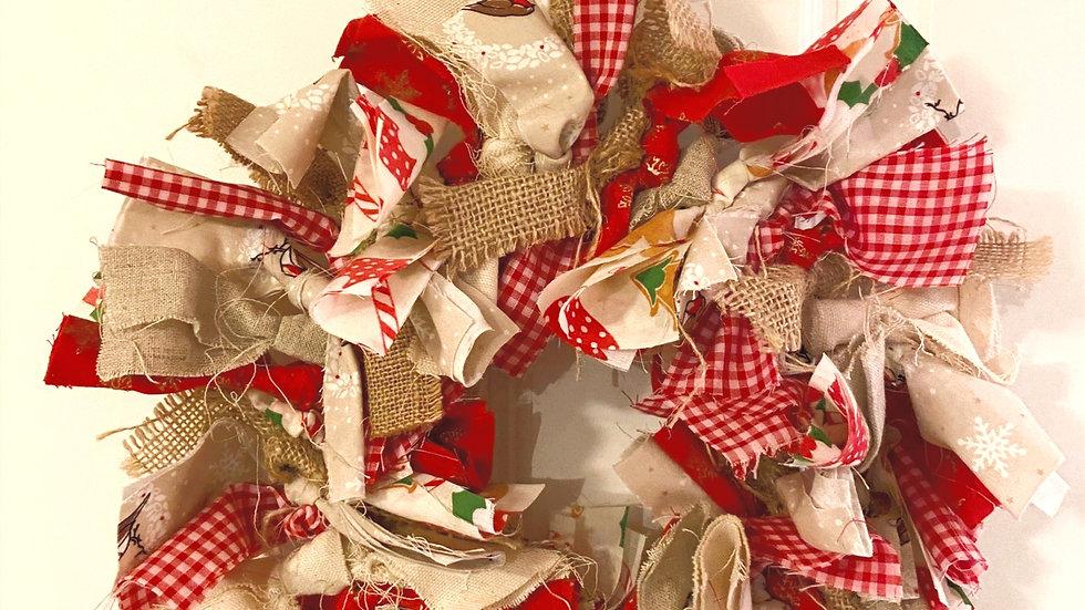 Rag Wreath - Red