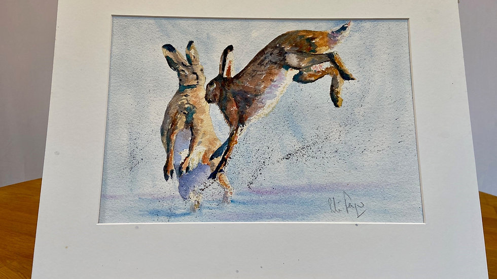 Boxing Hares Blue Painting