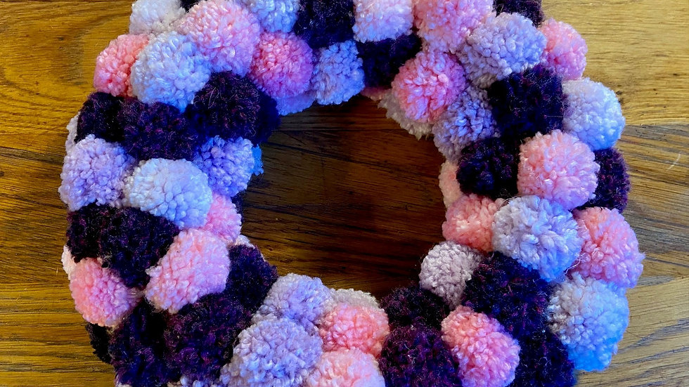 Pompom Wreath - Pink & Purple