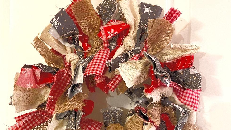 Rag Wreath - Red & Snowflake