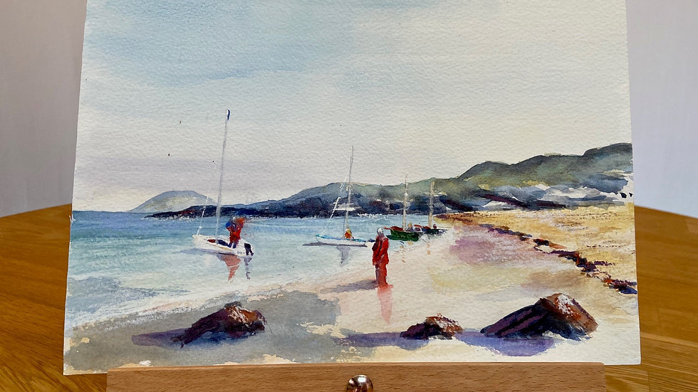 Launching from the Beach Painting