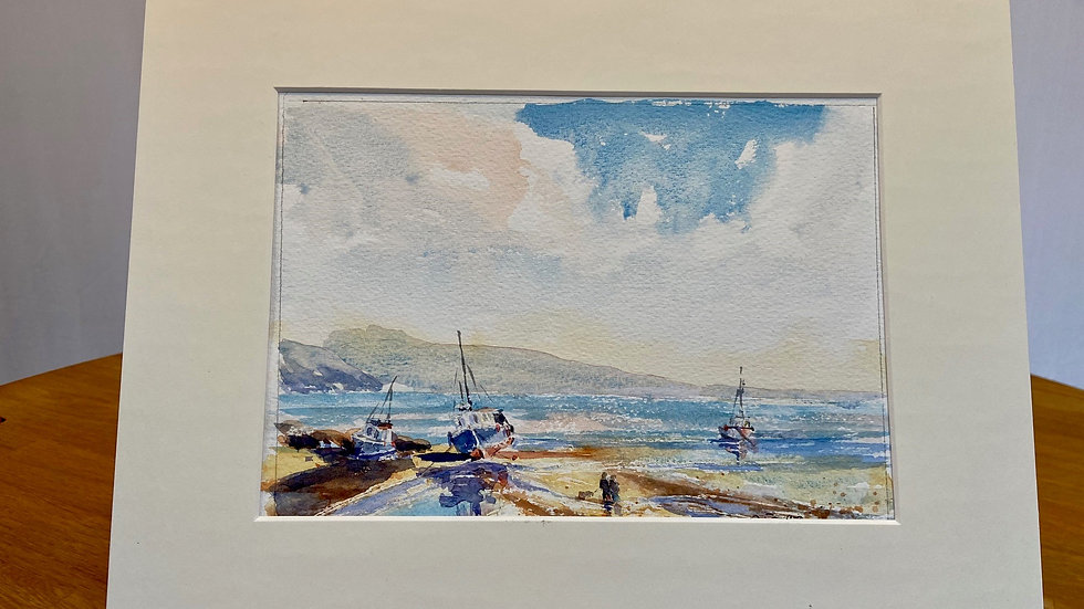 Boats at Low Tide Painting
