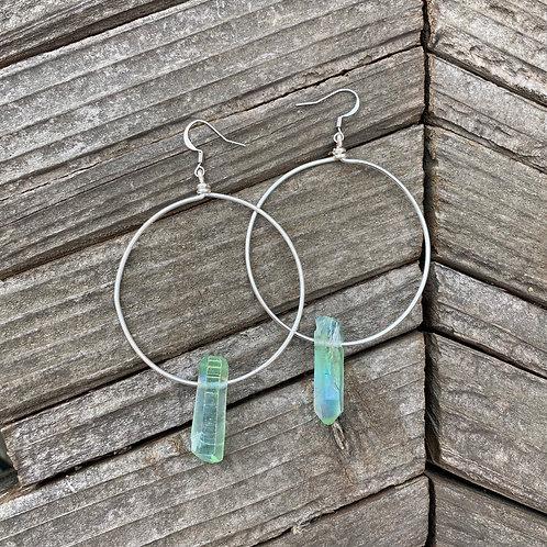 Green Alpha Hoops - silver