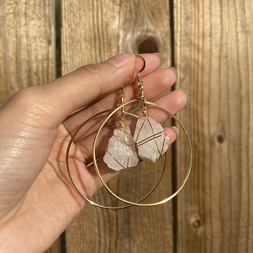 Gold Baby Luna Hoopies - rose quartz