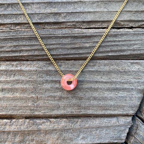 Donut Pendant - Cherry Quartz