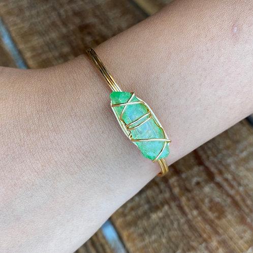 Green Aura Quartz Gold Cuff