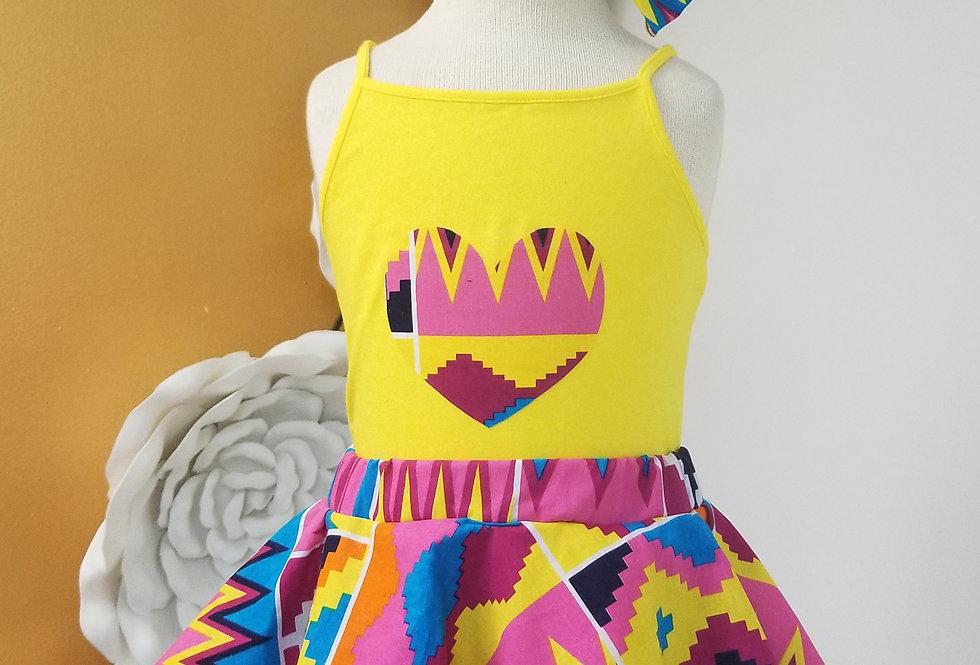 Bright Kente Skirt Child set