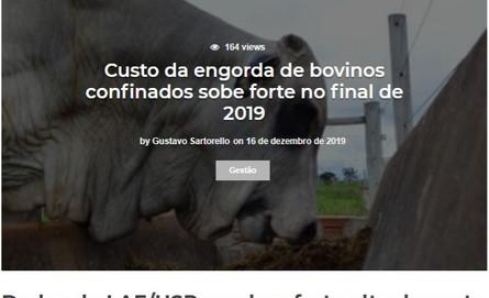 Custo da engorda de bovinos confinados s