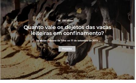 Quanto vale os dejetos das vacas leiteir