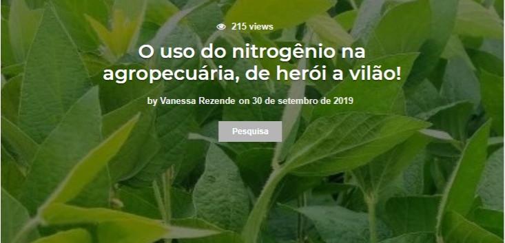 O uso do nitrogênio na agropecuária, de