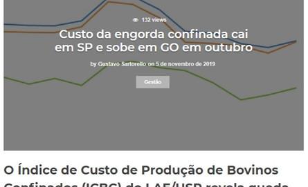 Custo da engorda confinada cai em SP e sobe em GO em outubro