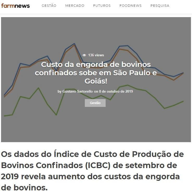 Custo da engorda de bovinos confinados sobre em São Paulo e Goiás!