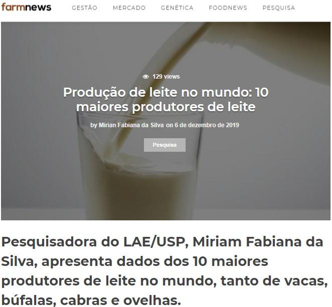 Produção de leite no mundo: 10 maiores p