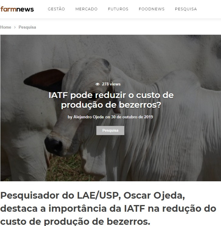 IATF pode reduzir o custo de produção de bezerros?