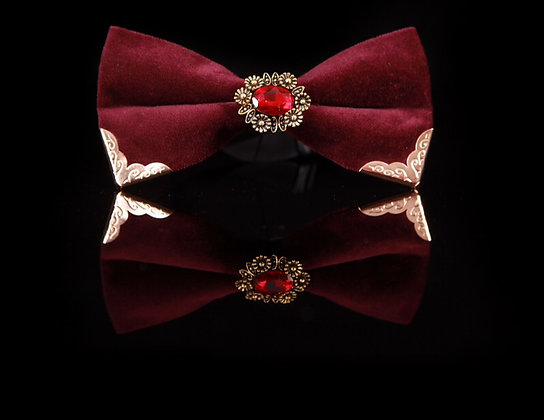 Royal luxury Red Burundi Crystal Bow Tie