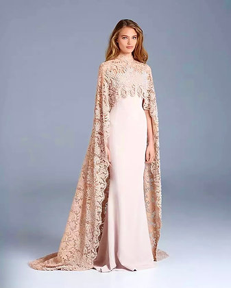 Formal Lace Carpe high neck Satin Gown