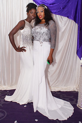 Long sleeves Grey and white Prom gown