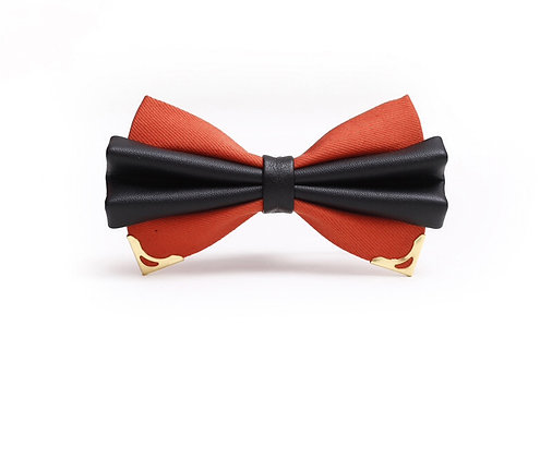 Red and Black with Gold Metal Bow Tie