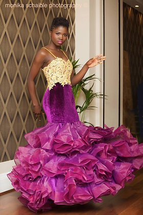 Purple Velvet Ruffle Prom Dress