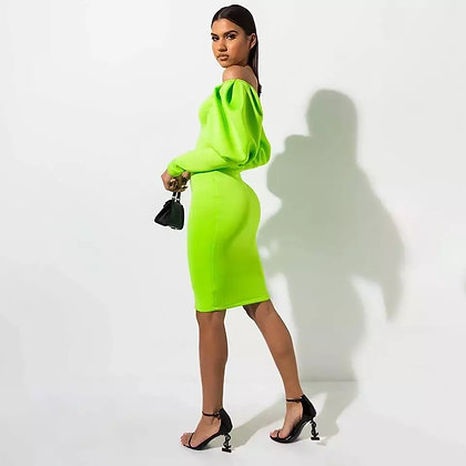 Apple Green long sleeves party dress