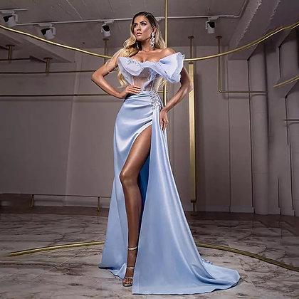 Sexy Prom Silk Dress high side split Mermaid Gown