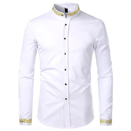 Gold Embroidery Stand collar Long sleeves Shirt