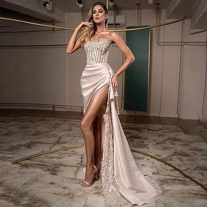 Prom Strapless Lace appliqué satin gown