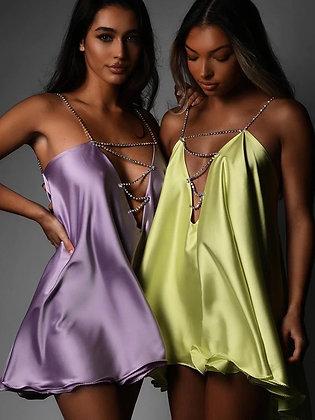 Diamanté Straps Swing Silk Summer Party Dress