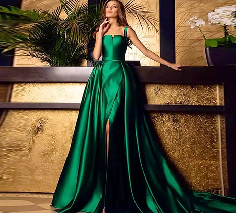 Spaghetti Straps A Line pleated Satin Party Gown