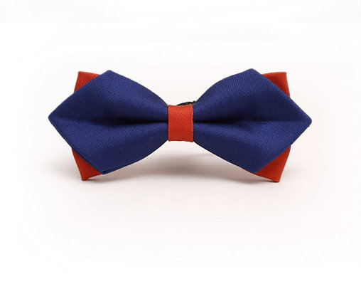 Double Layer Luxury Blue & Red Bow Tie