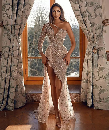 Sexy One Shoulder Prom Side Split Illusion Sequined dress