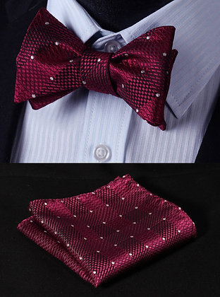 Red Silk Bow Tie set