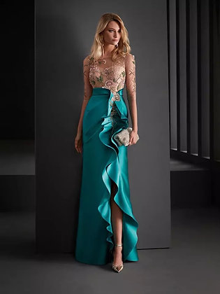 Sexy beaded Lace Split Ruffle Evening Gown