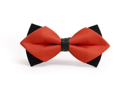 Double Layer Red and Black Bow Tie