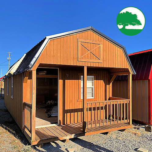 """*SOLD* PRE-OWNED 12' x 32' Treated """"Lofted Cabin"""""""