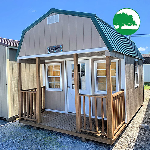 """*SOLD* PRE-OWNED 10' x 16' Painted """"Lofted Cabin"""""""