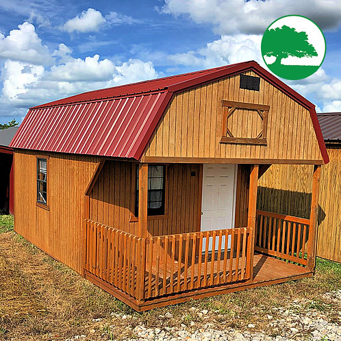 """*SOLD* PRE-OWNED 12' x 20' Treated """"Lofted Cabin"""""""