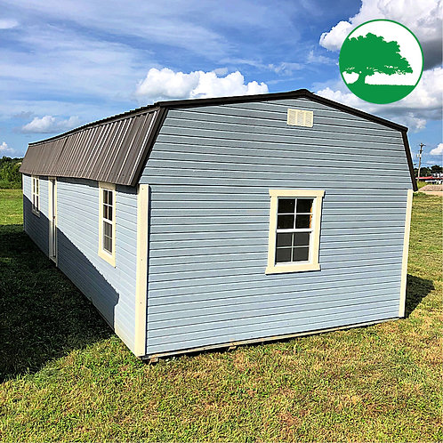 """*SOLD* PRE-OWNED 14' x 40' Painted """"High Barn Cabin"""""""