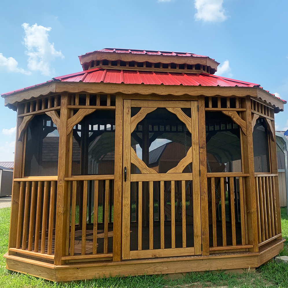 8' X 12' Oval Screened Gazebo With Double Roof